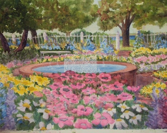 Prescott Park Fountain, Portsmouth NH  matted watercolor print, gift bag, blank card