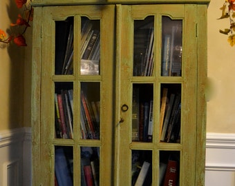 SOLD//   Shabby Chic, French Country Antique Bookcase/ Curio