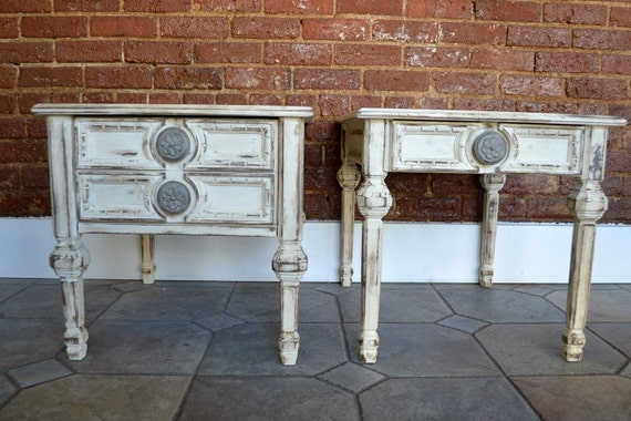RESERVED// Cottage Chic Old White Mersman Side Table with Drawer