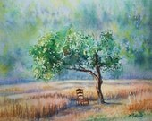 Original watercolor painting of quince tree