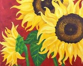 Original Painting, SUNFLOWERS on RED,18x24 Acrylic Canvas, Home Decor, Floral