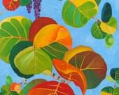 Original Painting, SEAGRAPES, 24x36 Acrylic Canvas, Home Decor, Tropical Art, Beach Art