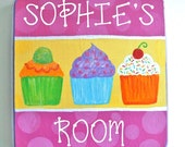"3 Cupcakes - 6 3/4"" Handpainted Personalized Plaque - Art for Kids - Girls Room or Nursery Decor"