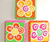 Girls Room Decor, FLOWERS, SET of 3, Handpainted 4x4 Plaques, Art for Kids, Art for Girls