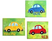 Wall Art for Children, COLORFUL CARS, Set of Three 8x10 original canvas paintings, Red, Yellow and Blue Car Art for kids rooms.
