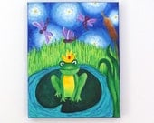 Fairytale Art for kids, THE FROG PRINCE, 11x14 canvas painting for baby nursery or childrens rooms
