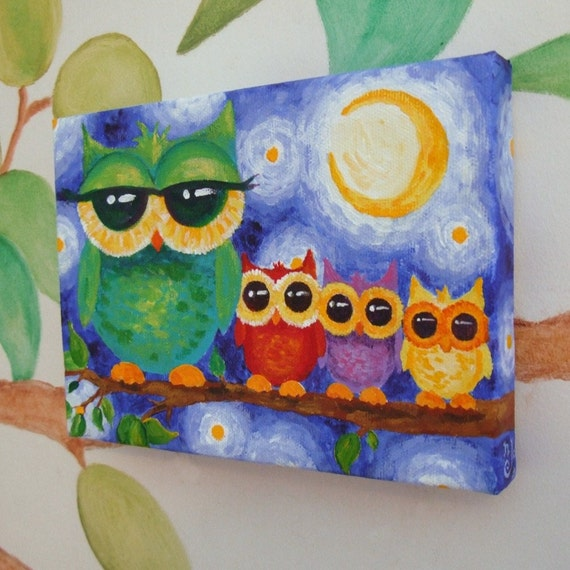 Owls Jungle Animals Wooden Bedroom Furniture Kids: Nursery Art COLORFUL OWL FAMILY 7x5 Acrylic On Canvas Art