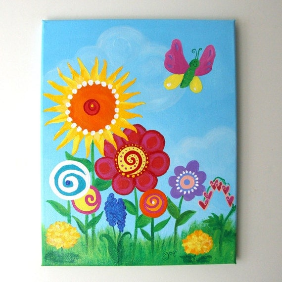 Girls Room Wall Art, BUTTERFLY GARDEN, 11x14 Canvas Painting, Floral Nursery Decor for girls