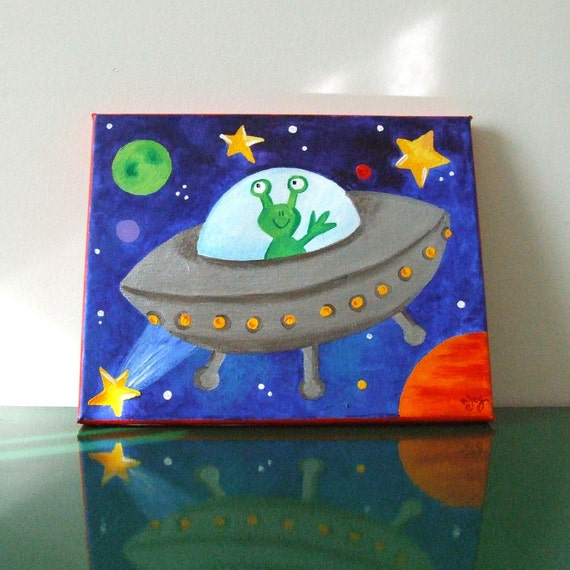 Kids Art Room: Art For Kids Rooms FLYING SAUCER 8x10 Acrylic Canvas By