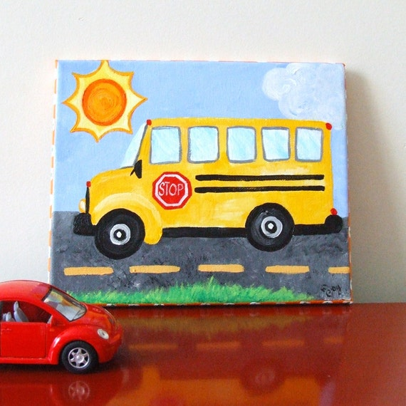 Art for Kids Rooms, SCHOOL BUS, 8x10 Acrylic Canvas, Transportation Painting, Boys Room Decor, Nursery Art, Car Art
