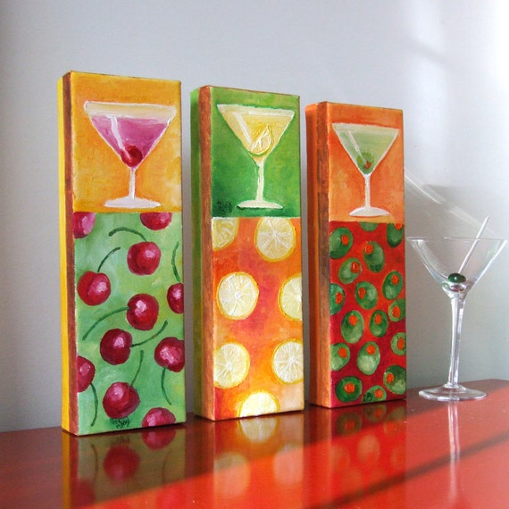Original Painting, MARTINI TIME, Three 12x4 Oil on Canvas, Home Decor, Cocktail Art, Modern Art