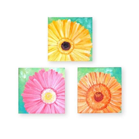 Canvas Paintings, DAISY SET of 3, Three 5x5 Acrylic on Canvas, Orignal Art, Home Decor, Floral Art, Canvas Set