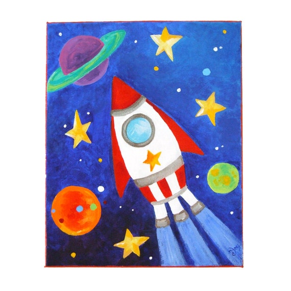 Art for Kids ROCKET SHIP 8x10 Acrylic Canvas Space by nJoyArt