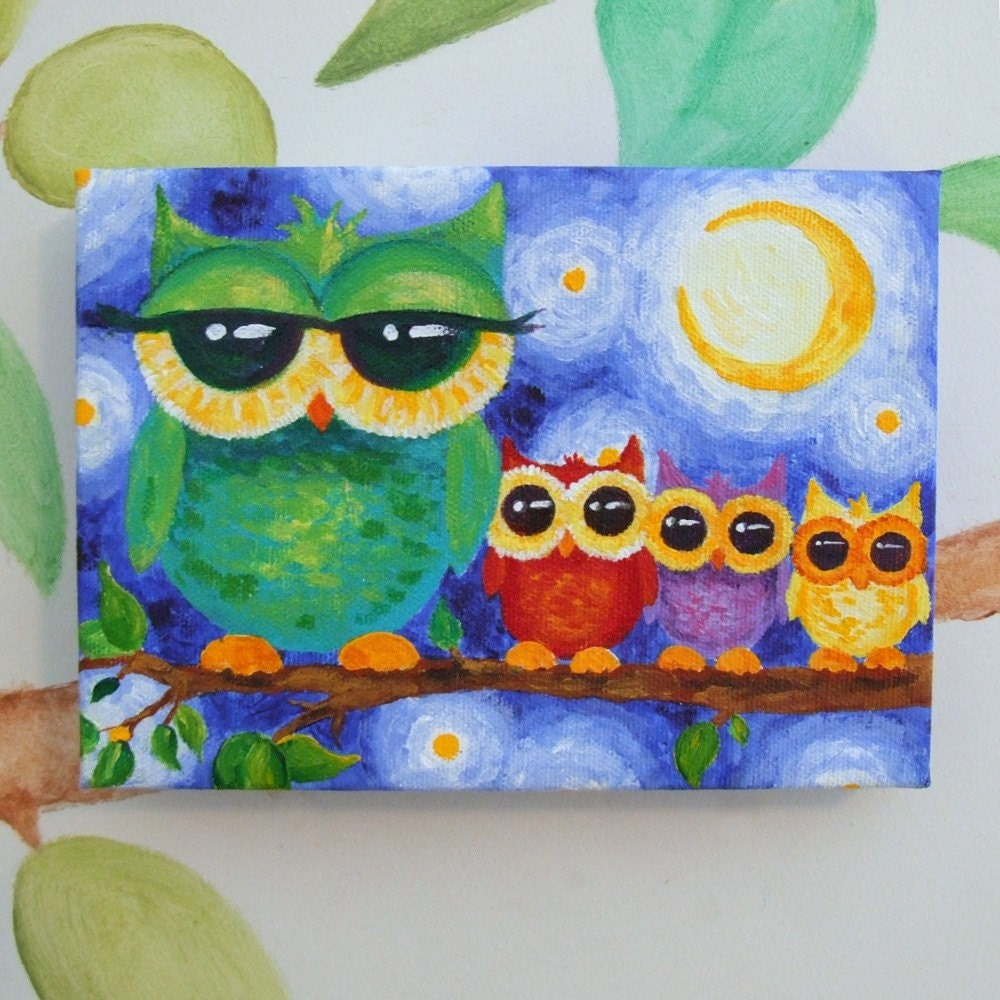Nursery Art Colorful Owl Family 7x5 Acrylic On Canvas Art