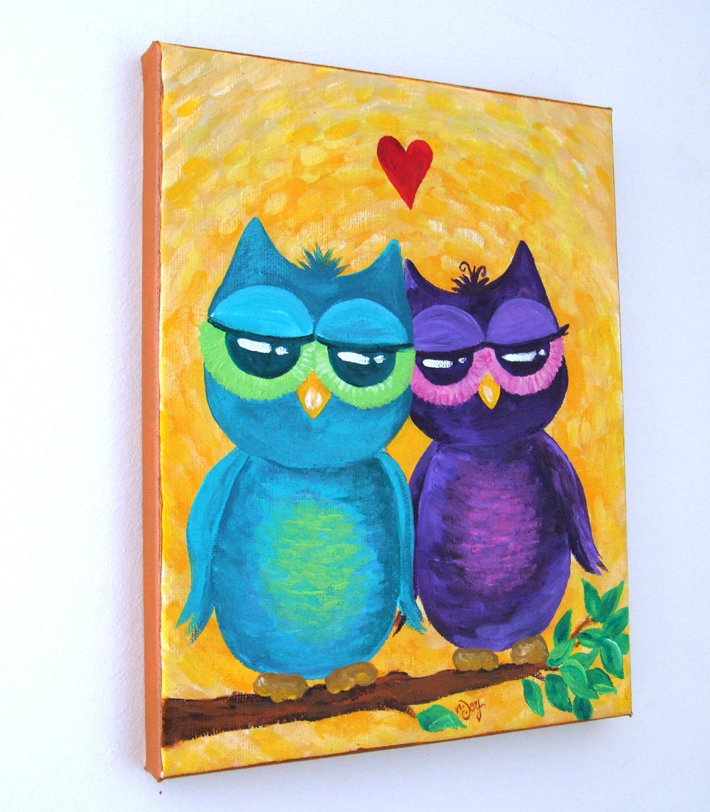 OWL always LOVE YOU No.2 8x10 Acrylic Canvas Owl Painting