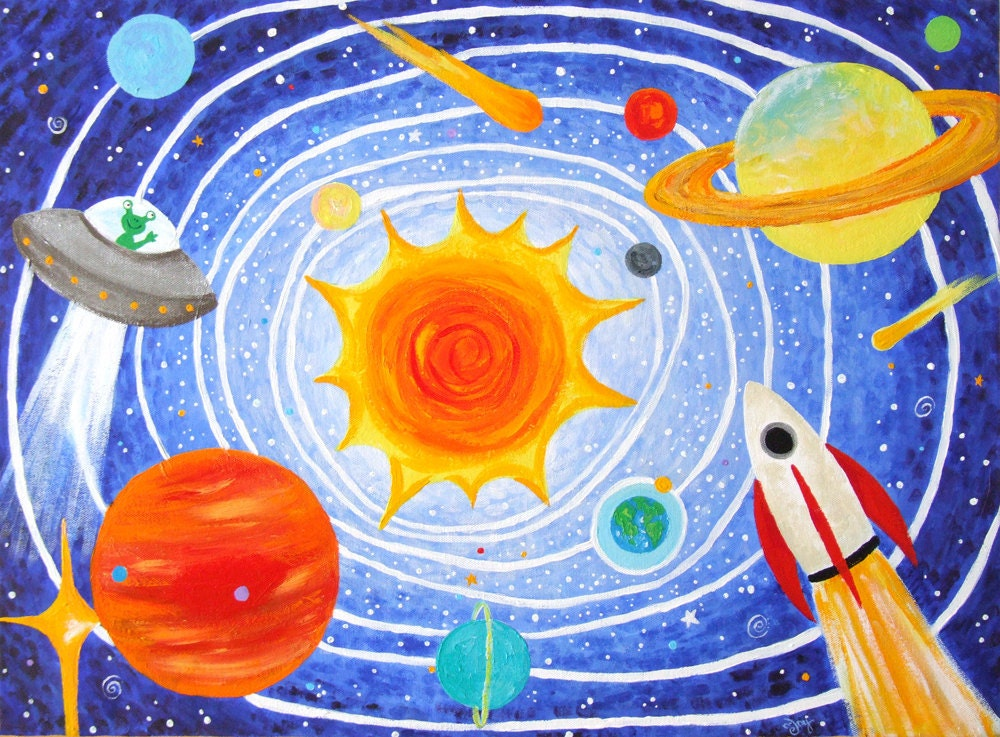 Kids Art SOLAR SYSTEM No.2 24x18 Acrylic Canvas Childrens