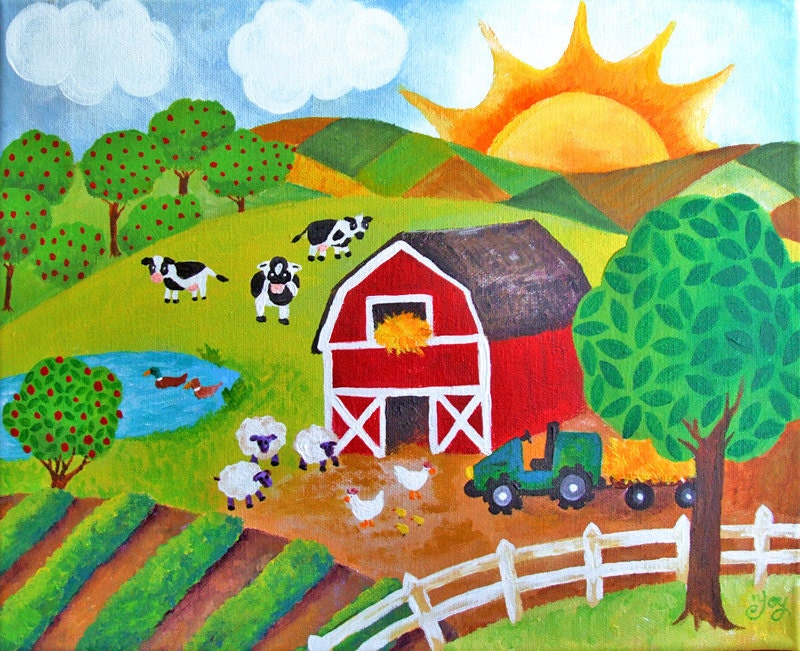 Children S Decor Daybreak On The Farm 14x11 Acrylic