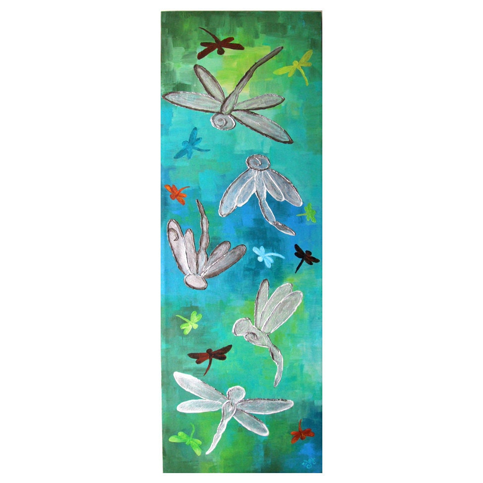 Abstract Painting DRAGONFLY PANEL 10x30 Acrylic Canvas by nJoyArt