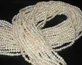 3mm cream potato freshwater pearl- full strand, seed, small