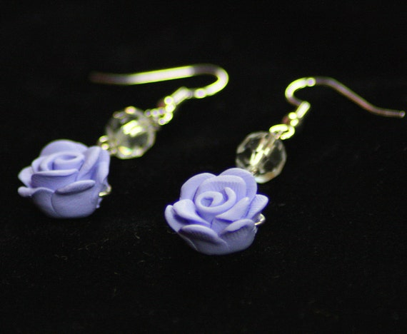 Purple Polymer Clay Roses and Crystal Earrings