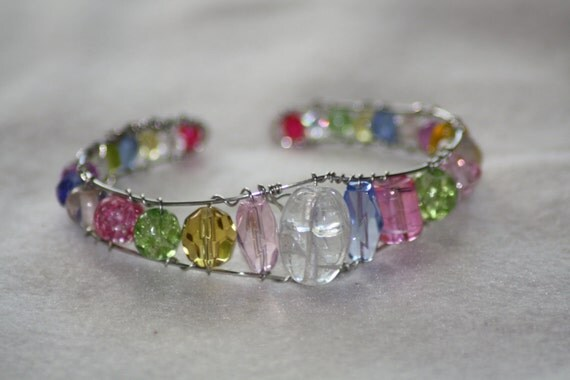 Spring Bling!    -Bright Multicolored Cuff Bracelet