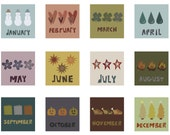 """Months of the Year Set of 12 Prints  - """"FREE FRAME"""""""