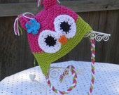 BABY or TODDLER -- Owl Earflap Hat -- Custom Colors -- Made to Order