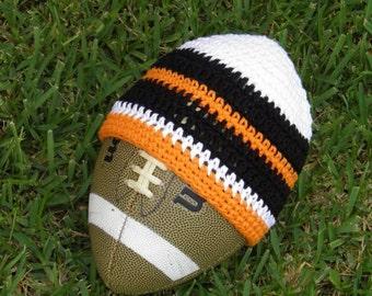 Boys Beanie: Any Size -- Orange Black White Stripe Hat