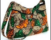 Pleated Purse, Shoulderbag, Adjustable Strap, African Print, Green, Orange, Medium. Bags and Purses by jhfabriccreations on Etsy