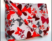 Messenger Bag, Butterflies on Gray Cotton Corduroy, Adjustable Strap, Medium