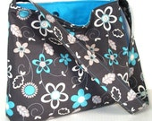 Slouch Hobo Bag, Deep Gray with Turquoise and White Flowers,  Medium Size