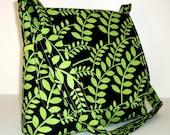 Black Messenger Bag, Lime Green Vines Print, Long Adjustable Strap, Small Medium Size