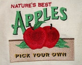 New - Shopping Market Bag, Apple Sign Embroidery, Natural Cotton Canvas Denim, Lined