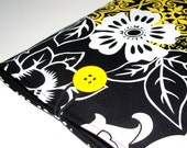 iPad Sleeve, Netbook Cover, Padded Sleeve, Yellow, Black and White Bold Graphic Floral Cotton