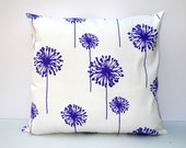 Accent Pillow Cover 18 x 18 - Purple Dandelions on White