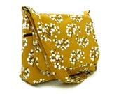 Shoulder Bag Messenger Bag Purse - Pussy Willow on Mustard Yellow - 8 pockets - Medium Size