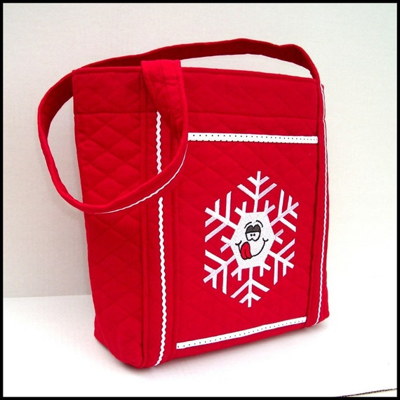 Embroidered Tote Bag / Snowflake on Red Quilted Cotton / Purse / Winter Tote / Red White Bag / Handmade Tote - Ready to Ship
