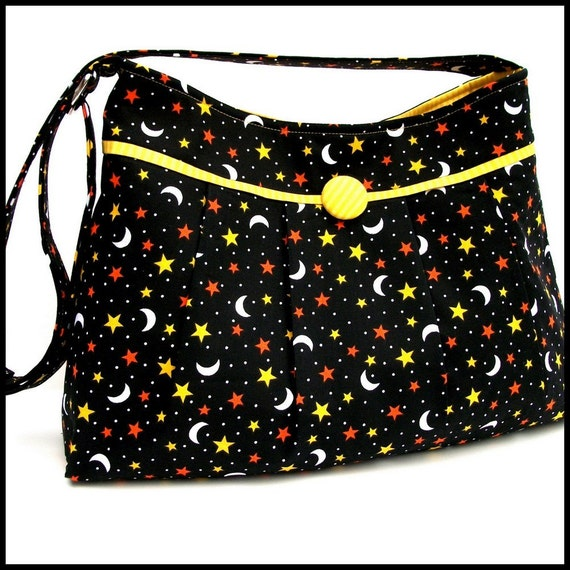 Pleated Purse / Shoulder Bag -  Black with Stars and Moons, Adjustable Strap