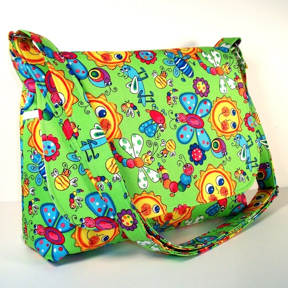 Clearance Messenger Bag, Crossbody Purse - Lime Green with Sun and Bugs