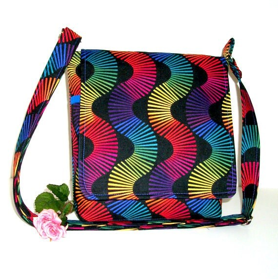Small Messenger Bag Shoulder Bag - Black with Jewel Tone Stripes, Adjustable Strap