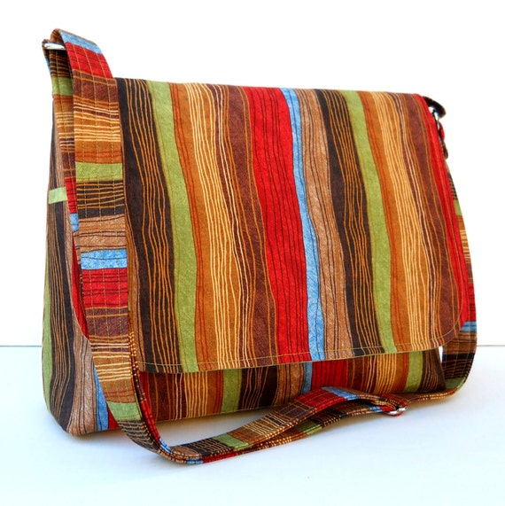 Messenger Bag Purse, Cross Body Bag, Autumn Color Stripe in Brown, Red, Green and Blue, Adjustable Strap, Medium Size