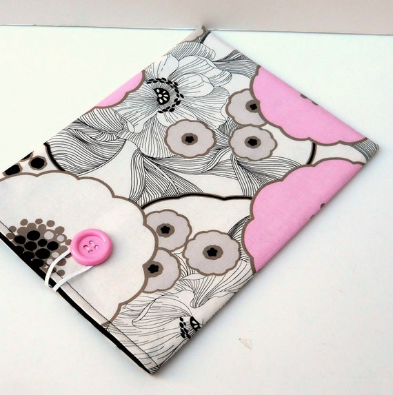 iPad Sleeve Netbook Case - Pink Flowers on White with Black, Padded