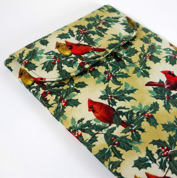 iPad Sleeve iPad 2 Cover - Red Cardinal Birds on Holly -  Padded  with Flap Closure