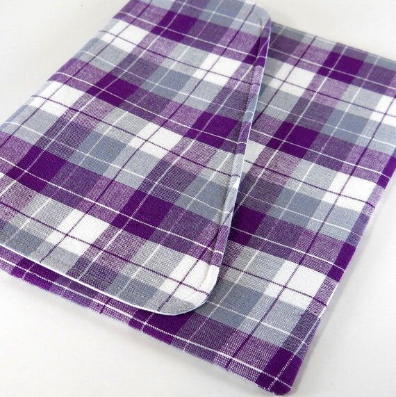iPad Cover - Purple Gray Plaid -  Ready to Ship