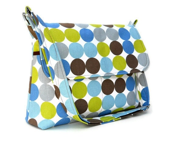Messenger Bag Cross Body Bag - Blue Green Brown Polka Dots - Larger with 8 Pockets