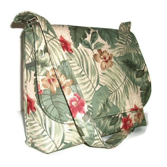 Crossbody Bag / Fabric Messenger Bag - Green Leaves and Red Flowers