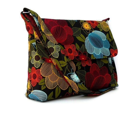 Messenger Bag Cross Body Bag - Black with Yellow, Blue and Red Line Flowers, - Larger with 8 Pockets