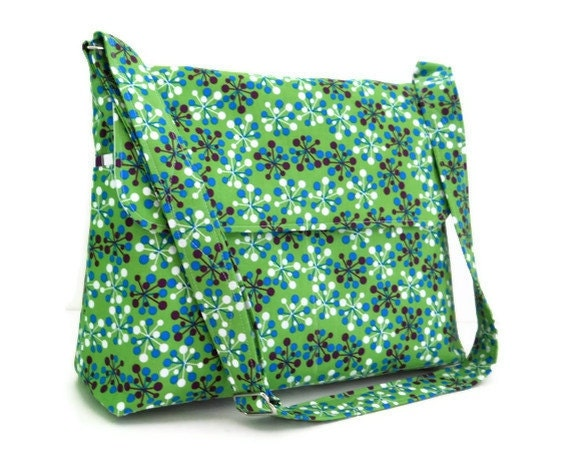 Discontinued Sale - Diaper Bag Messenger Bag - Green with Changing Pad, Large with 8 Pockets and Adjustable Strap
