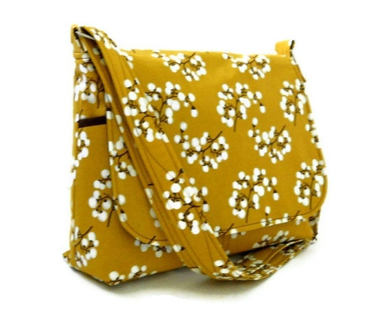 Shoulder Bag Messenger Bag Purse - Pussy Willow on Mustard Yellow - 8 pockets - Medium Size