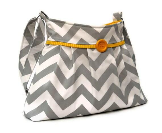 Gray Chevron Purse - Zig Zag Pleated Shoulder Bag - Medium - Adjustable Strap - 5 pockets